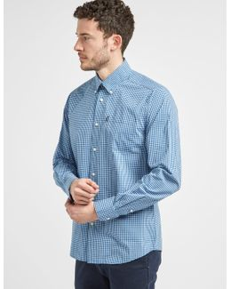Leonard Shirt Gingham Check Buttondown Tailored Slim Fit In Blue