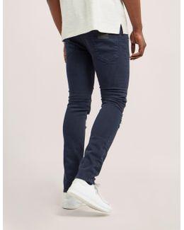 Distressed Zip Jeans