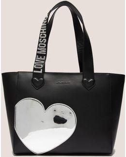 Silver Heart Shopper Bag