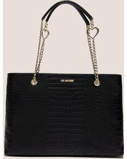 Mock Crocodile Shopper Bag