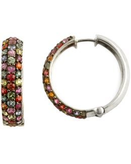 Sterling Silver Multi Coloured Sapphire Earrings