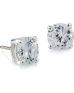 Round Cubic Zirconian Stud Earrings