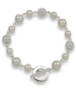 Crystal Fireball And White Pearl Bracelet