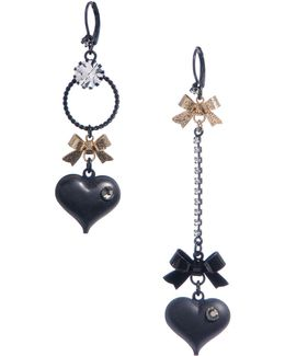 Bubble Heart Mismatch Linear Earring