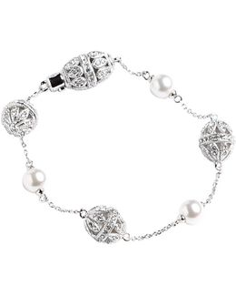 Pearl And Pave Crystal Station Bracelet