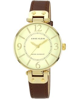 Gold Tone Large Brown Strap Watch