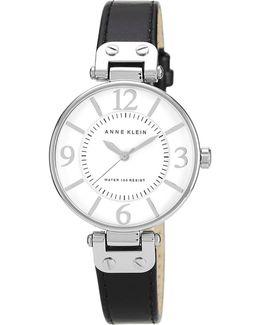 Silver Tone Large Black Strap Watch