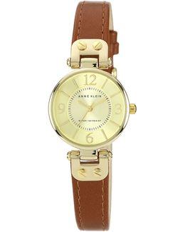 Gold Tone Round Brown Strap Watch