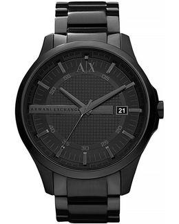 Mens Round 3 Hand Black Ip Stainless Steel Black Dial Watch