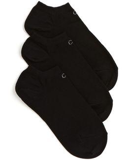 Three-pair No Show Logo Liner Socks