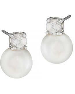 8mm Pearl With Cubic Zirconia Accent Earrings