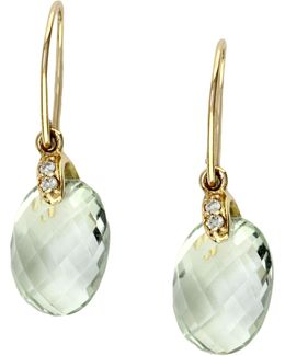 14k Yellow Gold Diamond And Green Amethyst Earrings