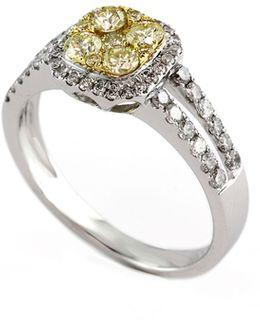 14k White And Yellow Gold Band White And Yellow 1.16ct Diamond Ring