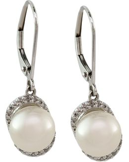 14k White Gold Diamond And Freshwater Pearl Earrings