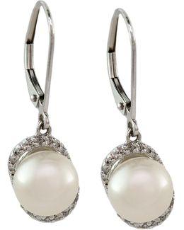 14k White Gold Diamond And Freshwater Pearl Earrings