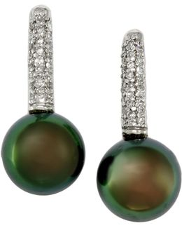 14k White Gold Diamond And Tahitian Pearl Earrings