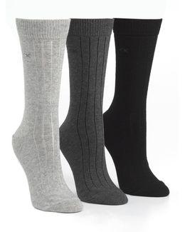 Three-pair Combed Cotton Socks