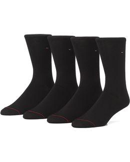 4 Pack Flat Knit Crew Socks