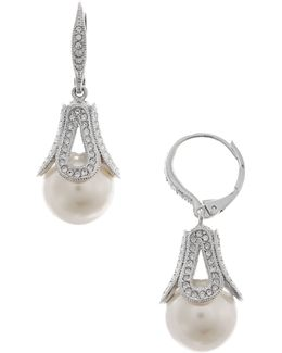 Pave And Pearl Drop Earrings