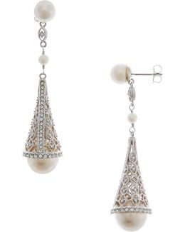 Pearl And Pave Cone Drop Earrings