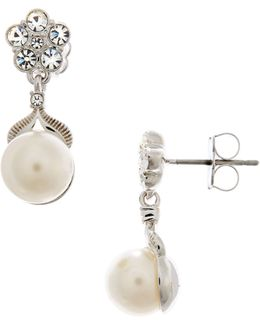 Pearl And Flower Drop Earring