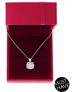 18k White Gold 0.5ct Diamond Cluster Pendant Box Set