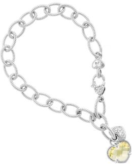 Link Charm Bracelet With Dangling Hearts