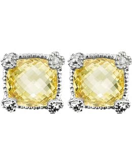 La Petite Cushion Stone Stud Earring