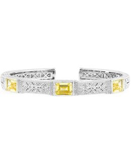Estate Cuff With Rectangular Stone Accents