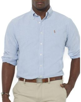 Big And Tall Classic-fit Solid Oxford Sport Shirt