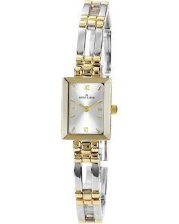 Two Tone Rectangular Ladies Dress Watch With Large Link Bracelet