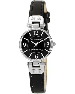 Ladies Silver Tone Round Watch With Black Leather Band And Silver Tone Lugs