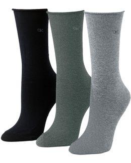 Three-pack Roll Top Socks