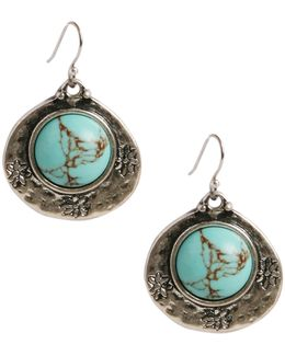 Lucly Brand Silver-tone Turquoise Drop Earrings