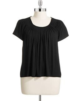 Plus Solid Pleat Neck Top