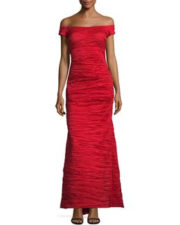 Off-shoulder Taffeta Gown