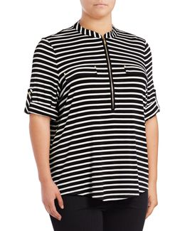 Plus Quarter Zip Striped Shirt