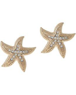 Pave Starfish Stud Earrings