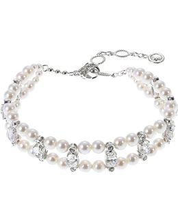 Two Row Pearl And Cubic Zirconia Bracelet