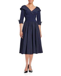 Shawl Collar Taffeta Gown