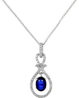 14k White Gold Diamond Natural Diffused Ceylon Sapphire Pendant Necklace