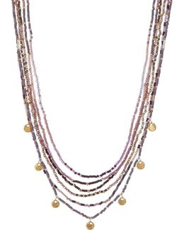 Multi Strand Seed Bead Medallion Necklace