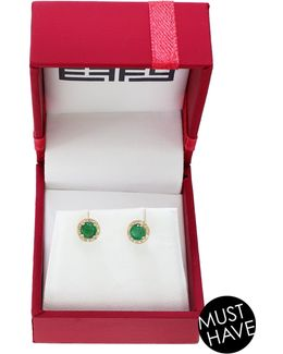 14k Yellow Gold 0.07tcw Diamond And 0.48ct Emerald Earrings Box Set