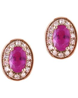 14k Rose Gold Ruby Earrings Box Set