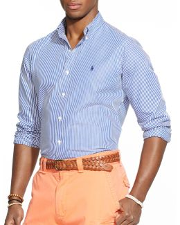 Hairline-striped Poplin Shirt