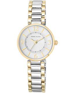 Ladies Two Tone Watch With Link Strap Ak-1871svtt