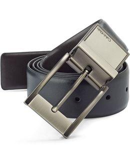 Reversible Gunmetal Buckle Leather Belt