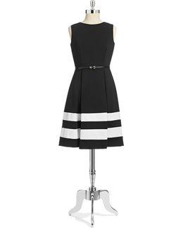 Striped Ponte Dress With Belt