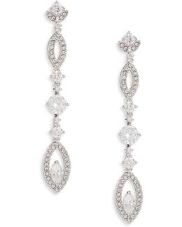 Pave Petal Linear Drop Earrings