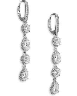 Framed Pave Linear Drop Earrings